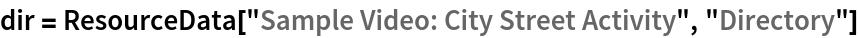 "dir = ResourceData[""Sample Video: City Street Activity"", ""Directory""]"