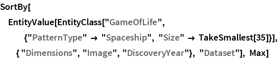 """SortBy[EntityValue[   EntityClass[    """"GameOfLife"""", {""""PatternType"""" -> """"Spaceship"""", """"Size"""" -> TakeSmallest[35]}], { """"Dimensions"""", """"Image"""", """"DiscoveryYear""""}, """"Dataset""""], Max]"""