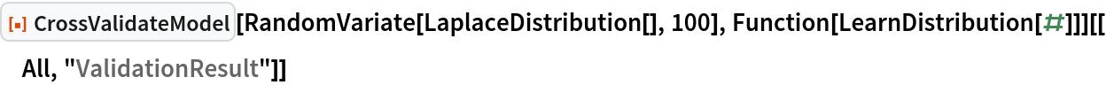 "ResourceFunction[""CrossValidateModel""][   RandomVariate[LaplaceDistribution[], 100], Function[LearnDistribution[#]]][[All, ""ValidationResult""]]"