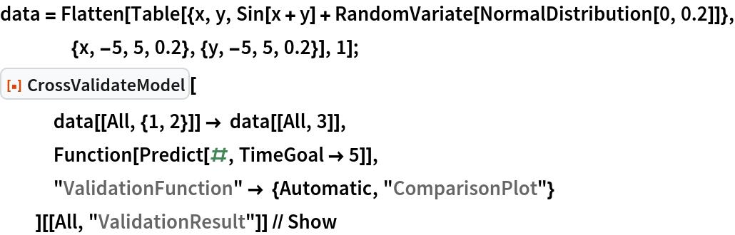 "data = Flatten[    Table[{x, y, Sin[x + y] + RandomVariate[NormalDistribution[0, 0.2]]}, {x, -5, 5, 0.2}, {y, -5, 5, 0.2}], 1]; ResourceFunction[""CrossValidateModel""][    data[[All, {1, 2}]] -> data[[All, 3]],    Function[Predict[#, TimeGoal -> 5]],    ""ValidationFunction"" -> {Automatic, ""ComparisonPlot""}    ][[All, ""ValidationResult""]] // Show"