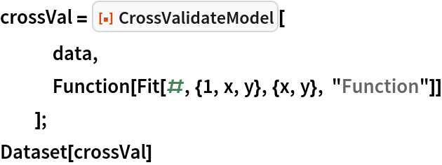 "crossVal = ResourceFunction[""CrossValidateModel""][    data,    Function[Fit[#, {1, x, y}, {x, y}, ""Function""]]    ]; Dataset[crossVal]"