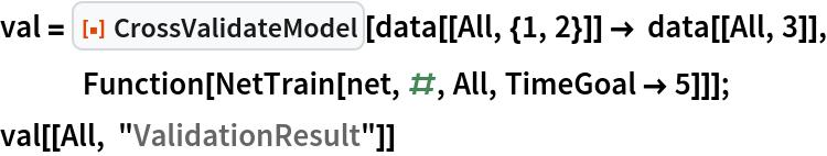 "val = ResourceFunction[""CrossValidateModel""][    data[[All, {1, 2}]] -> data[[All, 3]], Function[NetTrain[net, #, All, TimeGoal -> 5]]]; val[[All, ""ValidationResult""]]"