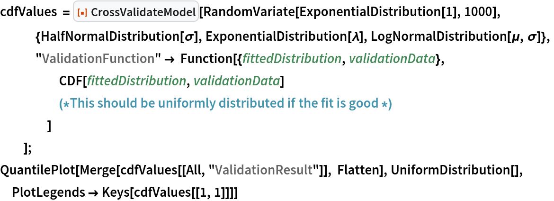 "cdfValues = ResourceFunction[""CrossValidateModel""][    RandomVariate[ExponentialDistribution[1], 1000],    {HalfNormalDistribution[\[Sigma]], ExponentialDistribution[\[Lambda]], LogNormalDistribution[\[Mu], \[Sigma]]},    ""ValidationFunction"" -> Function[{fittedDistribution, validationData},      CDF[fittedDistribution, validationData] (*This should be uniformly distributed if the \ fit is good *)      ]    ]; QuantilePlot[Merge[cdfValues[[All, ""ValidationResult""]], Flatten], UniformDistribution[], PlotLegends -> Keys[cdfValues[[1, 1]]]]"
