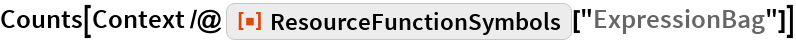 """Counts[Context /@ ResourceFunction[""""ResourceFunctionSymbols""""][""""ExpressionBag""""]]"""