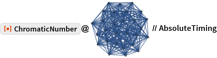 "ResourceFunction[""ChromaticNumber""]@\!\(\* GraphicsBox[ NamespaceBox[""NetworkGraphics"", DynamicModuleBox[{Typeset`graph = HoldComplete[ Graph[{1, 2, 3, 4, 5, 6, 7, 8, 9, 10, 11, 12, 13, 14, 15, 16, 17, 18, 19, 20, 21, 22, 23, 24, 25, 26, 27, 28}, {Null,  SparseArray[           Automatic, {28, 28}, 0, {            1, {{0, 20, 40, 60, 80, 100, 120, 140, 160, 180, 200, 220, 240, 260, 280, 300, 320, 340, 360, 380, 400, 420, 440, 460, 480, 500, 520, 540, 560}, CompressedData["" 1:eJxt0UkSgyAQBVAGjRoHnGVwkxvkLDmCF8j9dwEaBSEbrHr1fzXYr+P7OQhC 6K0PrL+EZvmjKKtn3bQd64dxmhdMM6ATVi4w0bEwtEml7V40Bl1vtktzH1s3 LtUemg45y245EZnJgcGQjtkBGxfe3FAw9zafk5f5nLRd+AnNOFtSoU1LbHX7 z6Juaa89pMb60IoqzYFdOZJsiItzRd6kile02u49ZSxekZ6yxys3lk6V6gcl piGU ""]}, Pattern}]}]]},  TagBox[GraphicsGroupBox[GraphicsComplexBox[CompressedData["" 1:eJwB0QEu/iFib1JlAgAAABwAAAACAAAAVP3SIQjuyD/mt5GRwKjXP4wiNCbd cOI/wEURU4upoD8r5r0fh9PpP7gz0SjJZOg/0GvwxaS25z/cYgNoUgDxPwAA AAAAAAAAevEabEhH8T/4hjqnYqTwPxYIY67ZfPI/PgzN77xO+j/KTnG1bBDt P34kFNd379Y/HrIKcTOj8j9l0q9ovcvyP/6zTLbPxug/NSOd2ir+9T8Yiniv si/WP9vqTWF/1fg/cHJJVsBWwj/GRAnZ9tHhP7DQXUEQPfw/UrOCfrt75z9k NxRN1WD3P/A5dVkpTd0/46tcmixp6z/bgFV6/PHtPxER8aGmsvs/0TPrOz9w 8j9uBgy/1ID3P3NP/8fP+fE/AAAAAAAAAABWb+onjBfqP23pwG+7/tk/oMuo iV872D+x7dbkYff3P3xbe9Dv1vA/AALd4fL+zj8eG5Pe+NT3P+1JCWXg6+U/ pE7Vh9onxT8+lH1DXVjmP9ctSDvsePo/MAC0KOOd9z/WIWCNWOf2P/QFdOBl 3PI/H6MXOWi43z/Ak/StCuLeP0ab7WM0jfU/H0AAe5VK/D/4fZlPdAL+P235 8B6poOM/6iKLraxz/T/0OFOXZ37zP7pi6Pg= ""], { {Hue[0.6, 0.7, 0.5], Opacity[0.7], LineBox[CompressedData["" 1:eJwVxbeRGDEMAMAD6L0nQZOoJZXwDXz/mUab7J+f378/+H0fwff9HxAYcBAg QYEGAxYceAgQIUGGAhUadBjIkKNEhRoNWnQYMWHGghUbdhw4kXAzwSRTzDLH PAssssQyK6yyxjobbLHDLhdcc8Mtd9zzwCNPPPPCK2+888EXP/wKKZTQwggv gogiiSyKqKKJLoaYgsSWVjrpZZBRJpllkVU2OeWSJI+88imrnPIqqKiSyqqo roaaailSR131tNVOex101ElnXXTVTU+99NZHX/2MNc54E0w0yWRTTDfDTLPM Nsdc82y0yVbbbLfDTrss2W2vfS674qprrrvhpluO3HbXPR998tU33/3w0y9P fvvjX8ihhBpa6GGEGVagsMMJL9bY44wrUtzxxBtfammkmVaitNNJN73c8sgz r0x555NvfqWWXmZZhcoup9zy6qyrUt311Ftfm201aruddtv"