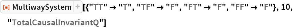 "ResourceFunction[  ""MultiwaySystem""][{""TT"" -> ""T"", ""TF"" -> ""F"", ""FT"" -> ""F"", ""FF"" -> ""F""}, 10, ""TotalCausalInvariantQ""]"