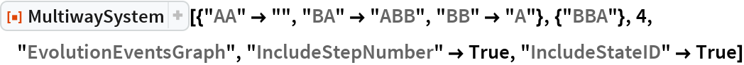 "ResourceFunction[  ""MultiwaySystem""][{""AA"" -> """", ""BA"" -> ""ABB"", ""BB"" -> ""A""}, {""BBA""}, 4, ""EvolutionEventsGraph"", ""IncludeStepNumber"" -> True, ""IncludeStateID"" -> True]"