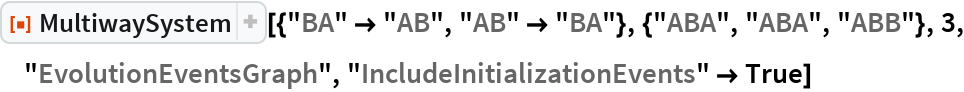 "ResourceFunction[  ""MultiwaySystem""][{""BA"" -> ""AB"", ""AB"" -> ""BA""}, {""ABA"", ""ABA"", ""ABB""}, 3, ""EvolutionEventsGraph"", ""IncludeInitializationEvents"" -> True]"
