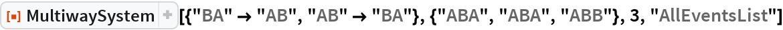 "ResourceFunction[  ""MultiwaySystem""][{""BA"" -> ""AB"", ""AB"" -> ""BA""}, {""ABA"", ""ABA"", ""ABB""}, 3, ""AllEventsList""]"