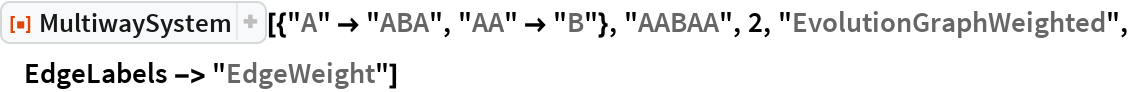 "ResourceFunction[  ""MultiwaySystem""][{""A"" -> ""ABA"", ""AA"" -> ""B""}, ""AABAA"", 2, ""EvolutionGraphWeighted"", EdgeLabels -> ""EdgeWeight""]"