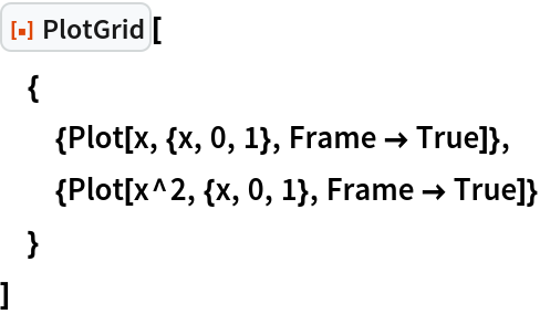 "ResourceFunction[""PlotGrid""][  {   {Plot[x, {x, 0, 1}, Frame -> True]},   {Plot[x^2, {x, 0, 1}, Frame -> True]}   }  ]"