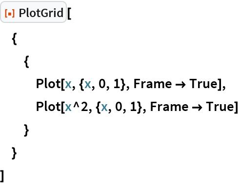 "ResourceFunction[""PlotGrid""][  {   {    Plot[x, {x, 0, 1}, Frame -> True],    Plot[x^2, {x, 0, 1}, Frame -> True]    }   }  ]"