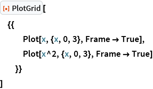 "ResourceFunction[""PlotGrid""][  {{    Plot[x, {x, 0, 3}, Frame -> True],    Plot[x^2, {x, 0, 3}, Frame -> True]    }}  ]"