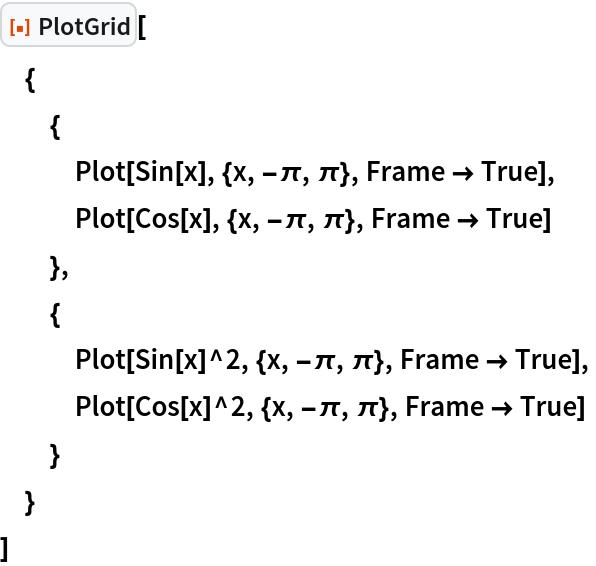 "ResourceFunction[""PlotGrid""][  {   {    Plot[Sin[x], {x, -\[Pi], \[Pi]}, Frame -> True],    Plot[Cos[x], {x, -\[Pi], \[Pi]}, Frame -> True]    },   {    Plot[Sin[x]^2, {x, -\[Pi], \[Pi]}, Frame -> True],    Plot[Cos[x]^2, {x, -\[Pi], \[Pi]}, Frame -> True]    }   }  ]"