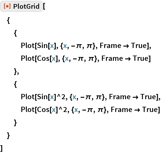 "ResourceFunction[""PlotGrid""][  {   {    Plot[Sin[x], {x, -\[Pi], \[Pi]}, Frame -> True],    Plot[Cos[x], {x, -\[Pi], \[Pi]}, Frame -> True]    },   {    Plot[Sin[x]^2, {x, -\[Pi], \[Pi]}, Frame -> True],    Plot[Cos[x]^2, {x, -\[Pi], \[Pi]}, Frame -> True]    }   }  ]"