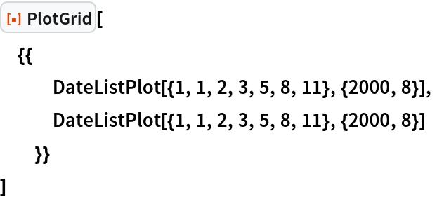 "ResourceFunction[""PlotGrid""][  {{    DateListPlot[{1, 1, 2, 3, 5, 8, 11}, {2000, 8}],    DateListPlot[{1, 1, 2, 3, 5, 8, 11}, {2000, 8}]    }}  ]"
