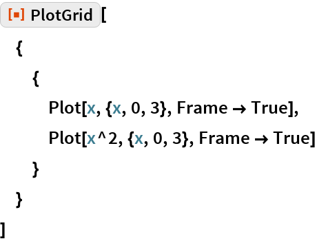 "ResourceFunction[""PlotGrid""][  {   {    Plot[x, {x, 0, 3}, Frame -> True],    Plot[x^2, {x, 0, 3}, Frame -> True]    }   }  ]"