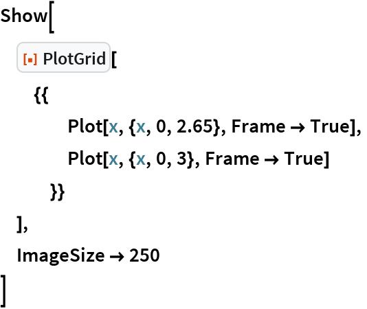 "Show[  ResourceFunction[""PlotGrid""][   {{     Plot[x, {x, 0, 2.65}, Frame -> True],     Plot[x, {x, 0, 3}, Frame -> True]     }}   ],  ImageSize -> 250  ]"