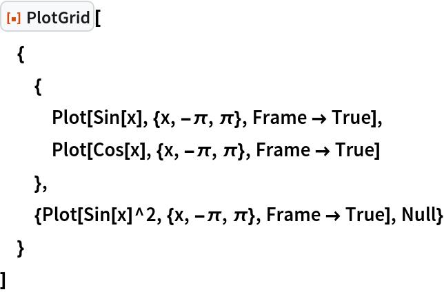"""ResourceFunction[""""PlotGrid""""][  {   {    Plot[Sin[x], {x, -\[Pi], \[Pi]}, Frame -> True],    Plot[Cos[x], {x, -\[Pi], \[Pi]}, Frame -> True]    },   {Plot[Sin[x]^2, {x, -\[Pi], \[Pi]}, Frame -> True], Null}   }  ]"""