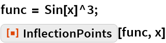"func = Sin[x]^3; ResourceFunction[""InflectionPoints""][func, x]"