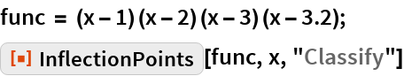 "func = (x - 1) (x - 2) (x - 3) (x - 3.2); ResourceFunction[""InflectionPoints""][func, x, ""Classify""]"