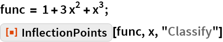 "func = 1 + 3 x^2 + x^3; ResourceFunction[""InflectionPoints""][func, x, ""Classify""]"