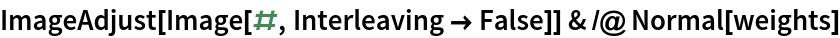 ImageAdjust[Image[#, Interleaving -> False]] & /@ Normal[weights]