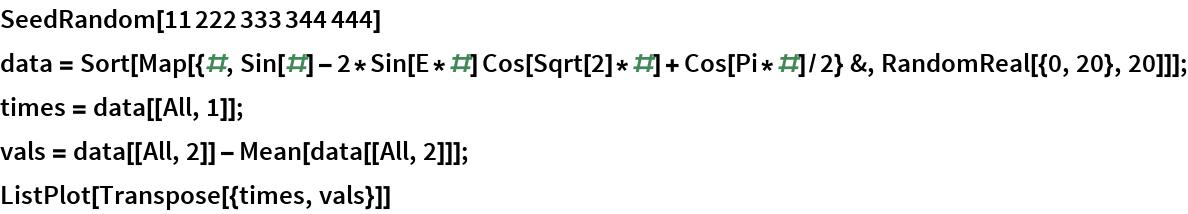 SeedRandom[11222333344444] data = Sort[    Map[{#, Sin[#] - 2*Sin[E*#] Cos[Sqrt[2]*#] + Cos[Pi*#]/2} &, RandomReal[{0, 20}, 20]]]; times = data[[All, 1]]; vals = data[[All, 2]] - Mean[data[[All, 2]]]; ListPlot[Transpose[{times, vals}]]