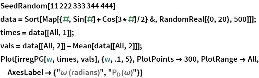 """SeedRandom[11222333344444] data = Sort[Map[{#, Sin[#] + Cos[3*#]/2} &, RandomReal[{0, 20}, 500]]]; times = data[[All, 1]]; vals = data[[All, 2]] - Mean[data[[All, 2]]]; Plot[irregPG[w, times, vals], {w, .1, 5}, PlotPoints -> 300, PlotRange -> All, AxesLabel -> {""""\[Omega] (radians)"""", """"\!\(\*SubscriptBox[\(P\), \(D\)]\)(\[Omega])""""}]"""