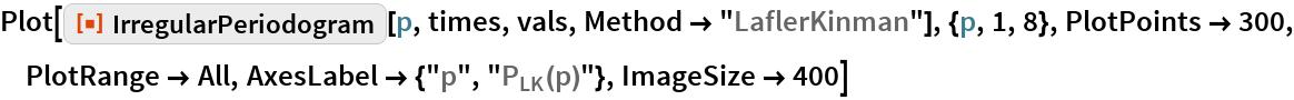 "Plot[ResourceFunction[""IrregularPeriodogram""][p, times, vals, Method -> ""LaflerKinman""], {p, 1, 8}, PlotPoints -> 300, PlotRange -> All, AxesLabel -> {""p"", ""\!\(\*SubscriptBox[\(P\), \(LK\)]\)(p)""}, ImageSize -> 400]"