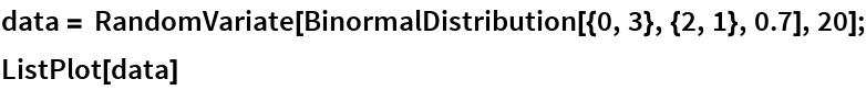 data = RandomVariate[BinormalDistribution[{0, 3}, {2, 1}, 0.7], 20]; ListPlot[data]
