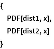 {  PDF[dist1, x],  PDF[dist2, x]  }
