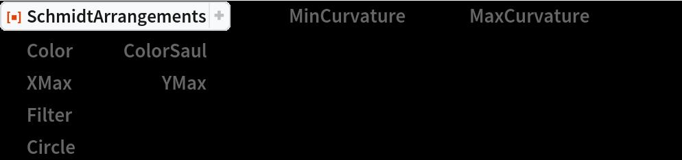 """ResourceFunction[""""SchmidtArrangements""""][-15, """"MinCurvature"""" -> 0, """"MaxCurvature"""" -> 20, """"Color"""" -> {""""ColorSaul"""", {1, 0}},  """"XMax"""" -> 10.0, """"YMax"""" -> 2.0,  """"Filter"""" -> Rectangle[{-0.1, -0.1}, {5.1, Sqrt[15.0] + 0.1}],  """"Circle"""" -> False, PlotRange -> {{0, 5}, {0, Sqrt[15.0]/2.0}}, ImageSize -> Large]"""