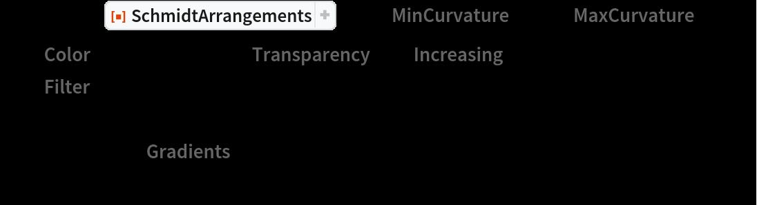 "Manipulate[  ResourceFunction[""SchmidtArrangements""][pre, ""MinCurvature"" -> 0, ""MaxCurvature"" -> nb, ""Color"" -> ColorData[s], ""Transparency"" -> ""Increasing"",   ""Filter"" -> Rectangle[{-0.1, -0.1}, {1.1, 1.1}], PlotRange -> {{-0.1, 1}, {0, 1.0}}, ImageSize -> Large, Background -> Black],  {s, ColorData[""Gradients""]}, {{nb, 10}, {10, 20, 30, 40}}  ]"