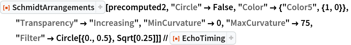 """ResourceFunction[""""SchmidtArrangements""""][precomputed2, """"Circle"""" -> False, """"Color"""" -> {""""Color5"""", {1, 0}},   """"Transparency"""" -> """"Increasing"""", """"MinCurvature"""" -> 0, """"MaxCurvature"""" -> 75,   """"Filter"""" -> Circle[{0., 0.5}, Sqrt[0.25]]] // ResourceFunction[ ResourceObject[ Association[    """"Name"""" -> """"EchoTiming"""", """"ShortName"""" -> """"EchoTiming"""", """"UUID"""" -> """"b6064c2f-0a91-4537-8ac3-ef527c794326"""", """"ResourceType"""" -> """"Function"""", """"Version"""" -> """"1.0.0"""", """"Description"""" -> """"Print the timing for an evaluation and return \ the result"""", """"RepositoryLocation"""" -> URL[      """"https://www.wolframcloud.com/obj/resourcesystem/api/1.0""""], """"SymbolName"""" -> """"GeneralUtilities`EchoTiming"""", """"FunctionLocation"""" -> CloudObject[      """"https://www.wolframcloud.com/objects/579490e1-7faa-43b0-a99d-\ 0f4188efc7c8""""]], ResourceSystemBase -> Automatic]]"""