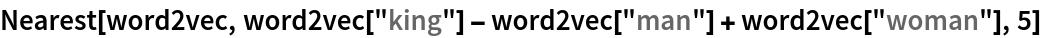 "Nearest[word2vec, word2vec[""king""] - word2vec[""man""] + word2vec[""woman""], 5]"