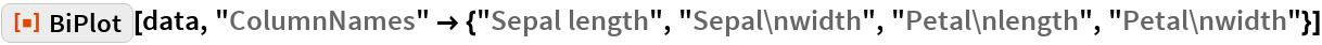"ResourceFunction[""BiPlot""][data, ""ColumnNames"" -> {""Sepal length"", ""Sepal\nwidth"", ""Petal\nlength"", ""Petal\nwidth""}]"