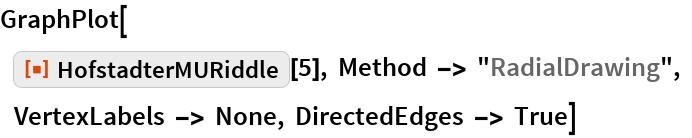 "GraphPlot[     ResourceFunction[""HofstadterMURiddle""][5], Method -> ""RadialDrawing"", VertexLabels -> None, DirectedEdges -> True]"