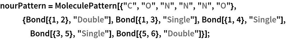 """nourPattern = MoleculePattern[{""""C"""", """"O"""", """"N"""", """"N"""", """"N"""", """"O""""}, {Bond[{1, 2}, """"Double""""], Bond[{1, 3}, """"Single""""], Bond[{1, 4}, """"Single""""], Bond[{3, 5}, """"Single""""], Bond[{5, 6}, """"Double""""]}];"""