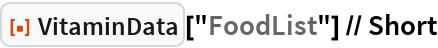 """ResourceFunction[""""VitaminData""""][""""FoodList""""] // Short"""