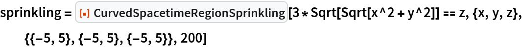 "sprinkling = ResourceFunction[""CurvedSpacetimeRegionSprinkling""][   3*Sqrt[Sqrt[x^2 + y^2]] == z, {x, y, z}, {{-5, 5}, {-5, 5}, {-5, 5}}, 200]"