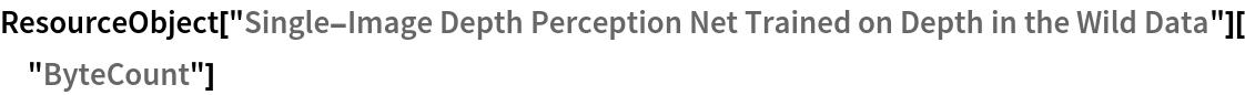 "ResourceObject[   ""Single-Image Depth Perception Net Trained on Depth in the Wild \ Data""][""ByteCount""]"