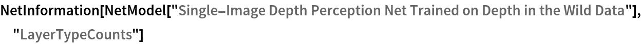 "NetInformation[  NetModel[""Single-Image Depth Perception Net Trained on Depth in the \ Wild Data""], ""LayerTypeCounts""]"