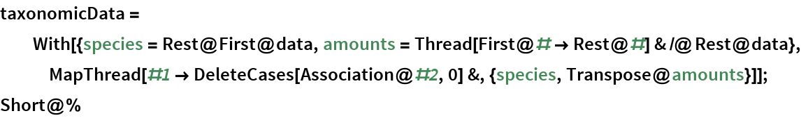 taxonomicData = With[{species = Rest@First@data, amounts = Thread[First@# -> Rest@#] & /@ Rest@data}, MapThread[#1 -> DeleteCases[Association@#2, 0] &, {species, Transpose@amounts}]]; Short@%