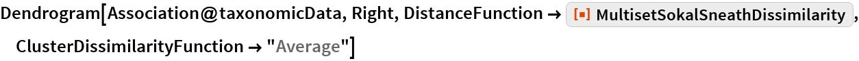 "Dendrogram[Association@taxonomicData, Right, DistanceFunction -> ResourceFunction[   ""MultisetSokalSneathDissimilarity""], ClusterDissimilarityFunction -> ""Average""]"