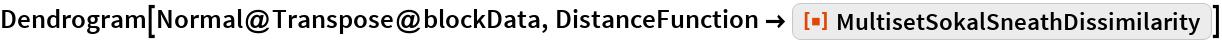 "Dendrogram[Normal@Transpose@blockData, DistanceFunction -> ResourceFunction[   ""MultisetSokalSneathDissimilarity""]]"