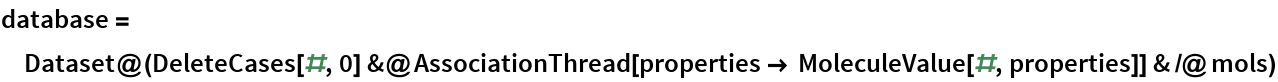 database = Dataset@(DeleteCases[#, 0] &@       AssociationThread[        properties -> MoleculeValue[#, properties]] & /@ mols)
