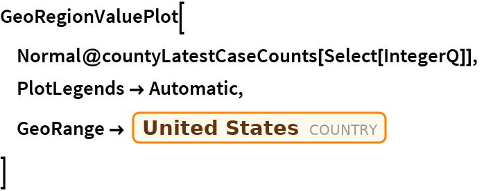 "GeoRegionValuePlot[  Normal@countyLatestCaseCounts[Select[IntegerQ]],  PlotLegends -> Automatic,  GeoRange -> Entity[""Country"", ""UnitedStates""]  ]"