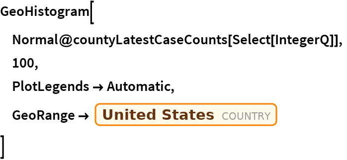 "GeoHistogram[  Normal@countyLatestCaseCounts[Select[IntegerQ]],  100,  PlotLegends -> Automatic,  GeoRange -> Entity[""Country"", ""UnitedStates""]  ]"