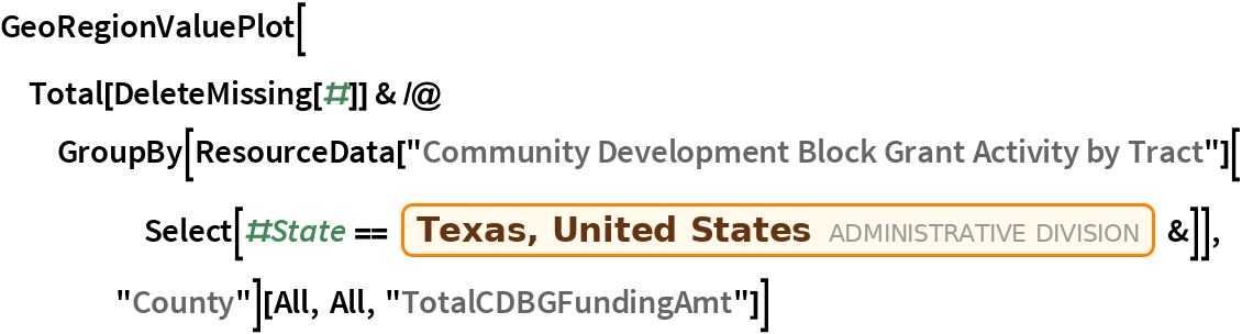 """GeoRegionValuePlot[  Total[DeleteMissing[#]] & /@ GroupBy[ResourceData[       """"Community Development Block Grant Activity by Tract""""][      Select[#State == Entity[""""AdministrativeDivision"""", {""""Texas"""", """"UnitedStates""""}] &]], """"County""""][All, All, """"TotalCDBGFundingAmt""""]]"""